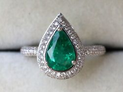 18k White/yellow/rose Gold Pear Emerald And Diamond Antique Halo Engagement Ring