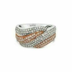 Levian 14k Two-tone Gold Round Brown And White Diamond Pavé Cocktail Band Ring