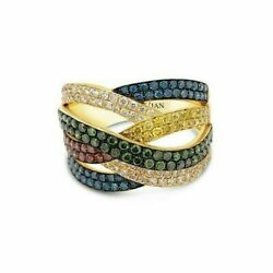 Levian 14k Yellow Gold Round Multi-color Diamond Classic Crossover Cocktail Ring