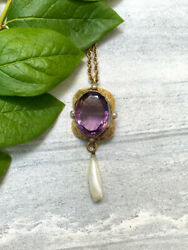 Antique Victorian Romantic Period 14k Gold Amethyst Dog Tooth Pearl Necklace 22