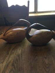 Pair Of Vintage Rare Wooden Hand Carved Ducks Made Of Maple , Madrone And Yew