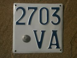 Italy Varese Vintage 1927 Motorcycle/ Moped Facist Emblem 2703 Va License Plate