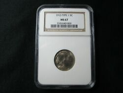 1913 Buffalo Nickel Type 1 - Ngc Grade Ms67 - Certified Mint State Uncirculated