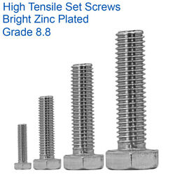 M24 - 24mm High Tensile Fully Threaded Set Screws Hex Bolts Zinc Plated 8.8