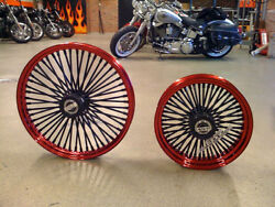 Dna Candy Red And Black Mammoth Fat 52 Spoke Wheels 23x3.5 And 18x8.5 Breakout Fxsb