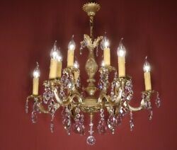 CRYSTAL FRENCH CHANDELIER LAMP HOME DECOR HALL ENTRYWAY 12 L BRASS BRONZE