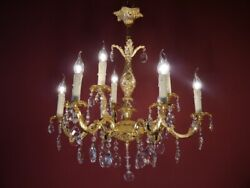 CRYSTAL FRENCH CHANDELIER LAMP HOME DECOR HALL ENTRYWAY 9 L GOLD BRONZE