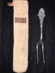 Sterling Silver Italian 2 Tine Meat Serving Fork And Original Pouch Rare