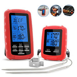 Wireless Digital Meat Thermometer 2 Probes For Grilling Bbq Food Oven Smoker Usa