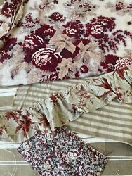 Antique Vintage French Fabric Scraps Pack Striped Ticking Madder Brown Floral