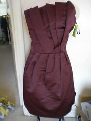 French Connection Fcuk Wizard Wonder Origami Pleated Strapless Burgundy Dress
