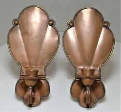 Pair Of Rare Hector Aguilar Handwrought Mixed Metals Copper And Brass Wall Sconces
