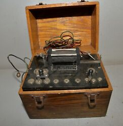 Antique Medical Quack Box Battery Powered Oak Dove Tail Chest Collectible Tool