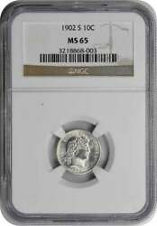 1902-s Barber Silver Dime Ms65 Ngc
