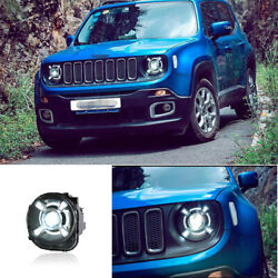For Jeep Renegade 2015-2018 2017 Led Headlight Drl Hid Hi/lo Beam Projector 2pc