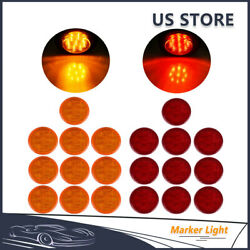 10pcs Red + 10pcs Amber 2.5 Round 13 Led Trailer Clearance Side Marker Lights