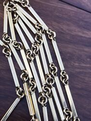 Antique Or Vintage Solid 18ct Yellow Gold Very Long Chain Necklece And48 Bar Link