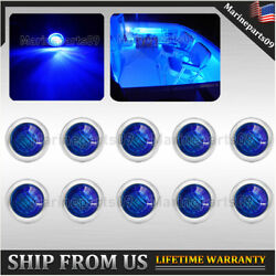 10x Blue Marine Boat Deck Light Led Updated Stainless Stern Lamp Courtesy Lights