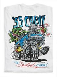 Menand039s Ed Big Daddy Roth Rat Fink And03955 Chevy Hot Rod White Cotton T-shirt M-3xl
