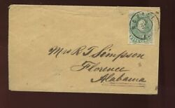 Confederate States 1 Used Stamp On Cover Mobile To Florence Alabama Ex Kimbrough