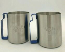 Absolut Vodka Silver Tin Cup Embossed With Absolute Mule Blue Metal Handle