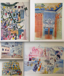 Raoul Dufy Lithograph Collectible Aquarelle Print Rare Plate Signed Venice Nice