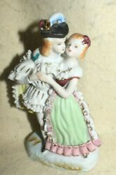 Estate -old-bone China-hand Painted Figurine Colonial Couple Dancing Stunning