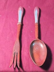 Hallmark Sterling Unknown Pattern 2pc Salad Set 11 1/4 Wooden Bowl And Tines