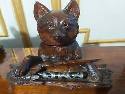 Magnificent Carved Black Forest Inkwell / Pen Stand 19 Century