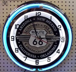 18 Route Us 66 Sign Double Neon Clock Americas Mother Road
