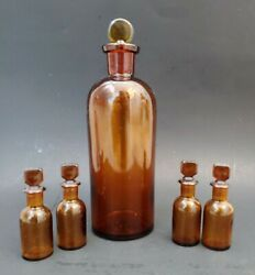 5 Vintage Medicine Pharmacy Apothecary Bottles Amber Glass W/ Stoppers 8 3/4-3