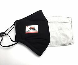 CALIFORNIA State Flag Designer Black Reusable Face Cover Mask With 2 Filters $9.50