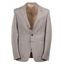 Isaia Modern-fit Mini Houndstooth Check Wool And Linen Suit 38r Eu 48