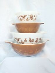 Vintage Pyrex Brown Early American Cinderella Nesting Mixing Bowls Set Of 4