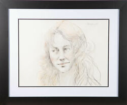 Peter Collins Arca - 1981 Graphite Drawing, Smiling Girl