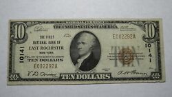10 1929 East Rochester New York Ny National Currency Bank Note Bill 10141 Vf