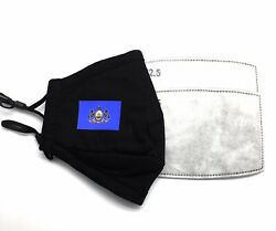PENNSYLVANIA State Flag Designer Black Reusable Face Cover Mask With 2 Filters $9.50