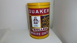Vintage Quaker Rolled Oats Tin Canister Can Made In Canada