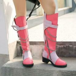 Womens Fashion Punk Rock Chain High Boots Chunky Mid Heels Leather Knight Boots