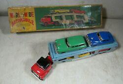 Vintage 1950's/60's Sss Shioji Tin Car Carrier Friction Toy W/box Truck Japan