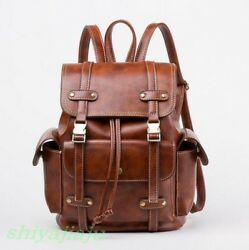 Womens Retro Buckle Strap Backpacks Faux Leather Students Bookbags Travel Bags