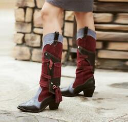 Womens Fashion Retro Pointy Toe Tassel Cowboy Boots Thick Heel Leather High Boot
