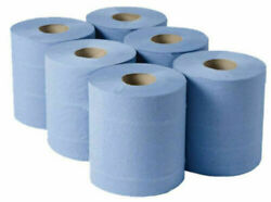 Blue Rolls 6 Pack Centrefeed Paper Wipe Embossed Rolls 2 Ply Bigger