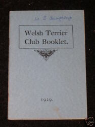 VERY RARE WELSH TERRIER DOG BOOK 1929 BY CLUB