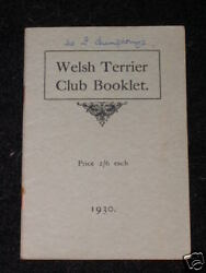 VERY RARE WELSH TERRIER DOG BOOK 1930 BY CLUB