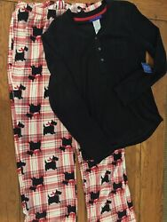 Simply Styled Soft Women#x27;s Pajama Set Scotty Dogs Plaid Bottoms Black Top Small $19.95
