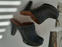 Womens gorgeous Leather slip on heeled shoe. Clog like in  design 3.5 inch heel $35.00