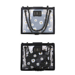 2pcs Set Portable Women Daisy Shoulder Handbags Clear PVC PU Travel Totes Bag $12.43