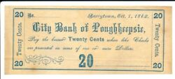 City Of Poughkeepsie 20c Barrytown, Ny Oct 1, 1862 Unlisted In Harris