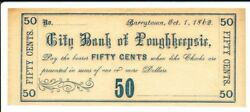 City Of Poughkeepsie 50c Barrytown, Ny Oct 1, 1862 Unlisted In Harris